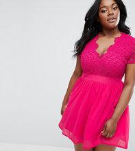 Club L   Короткое приталенное платье с кружевным лифом Club L Plus - Розовый   Clouty