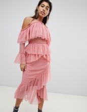 ASOS | Платье миди из сетчатой ткани добби с асимметричными оборками ASOS DES | Clouty