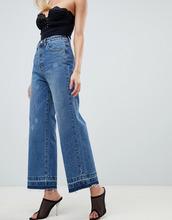 PrettyLittleThing   PrettyLittleThing wide leg raw hem jeans in blue - Синий   Clouty