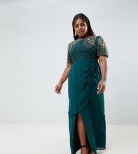 Virgos Lounge | Изумрудно-зеленое платье макси с отделкой и запахом Virgos Lounge Plus ariann - Зеленый | Clouty