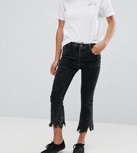 ASOS   Черные выбеленные укороченные расклешенные джинсы ASOS PETITE - Черный   Clouty