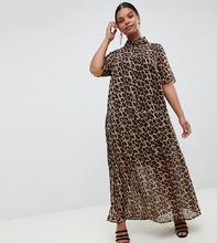 ASOS | Плиссированное платье-рубашка макси с леопардовым принтом ASOS DESIGN Curve - Мульти | Clouty