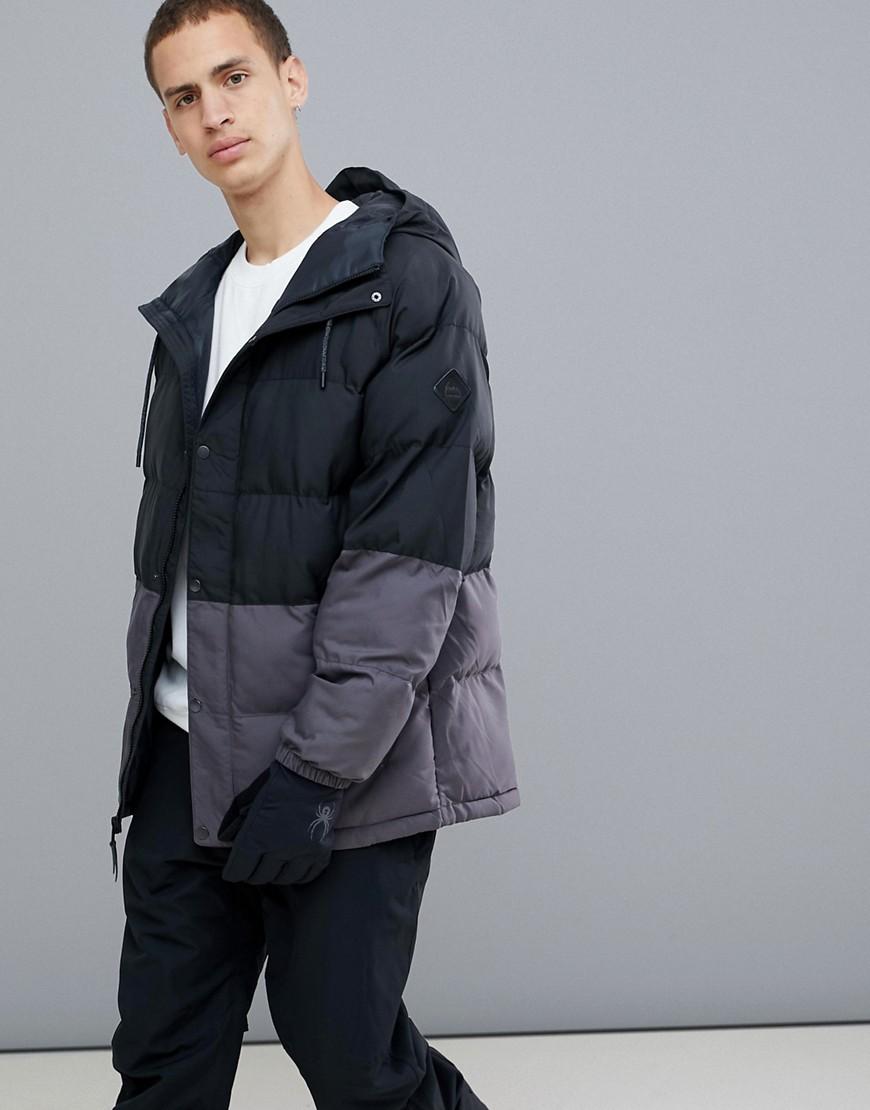 ... Burton Snowboards   Черный Серо-черная дутая куртка с капюшоном Burton  Snowboards Traverse   Clouty ... 109ac2912d1