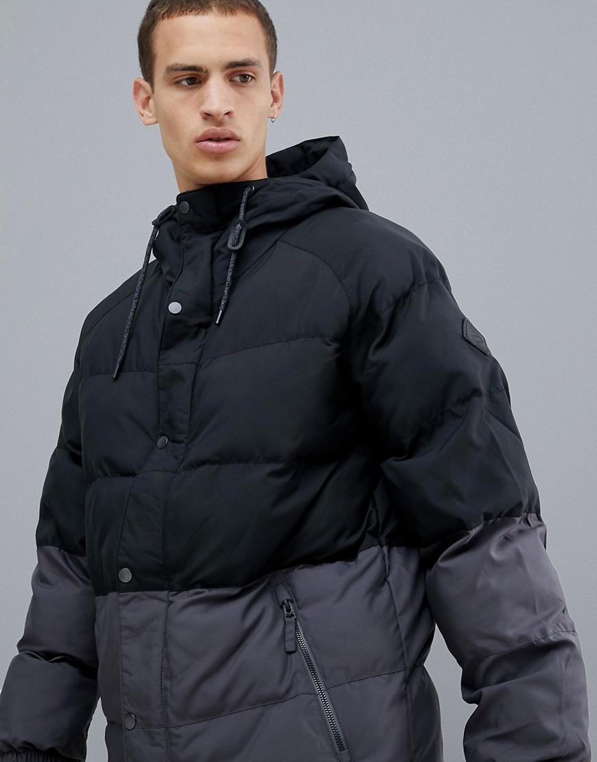 Burton Snowboards   Черный Серо-черная дутая куртка с капюшоном Burton  Snowboards Traverse   Clouty ... 28529b89f53