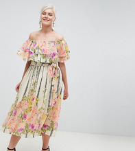 ASOS   Платье-бандо миди с оборками и цветочно-полосатым принтом ASOS DESIGN   Clouty