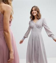 TFNC London   Платье миди с длинными рукавами и плиссированной вставкой на юбке TFNC - Серый   Clouty