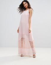 BCBGMAXAZRIA | Полупрозрачное платье миди А-силуэта с кружевным низом BCBG - Розовый | Clouty