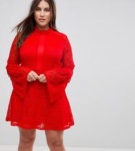 Rage | Кружевное короткое приталенное платье с длинными рукавами Rage Plus - Красный | Clouty
