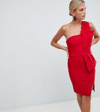 Vesper | Платье-футляр на одно плечо с бантом Vesper - Красный | Clouty