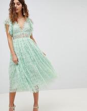 ASOS | Кружевное платье миди для выпускного с рукавами-оборками ASOS DESIGN | Clouty