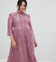 Little Mistress | Платье миди для выпускного с кружевом Little Mistress Plus - Розовый | Clouty