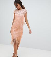 ASOS   Платье миди с пайетками и бахромой ASOS DESIGN Tall - Оранжевый   Clouty