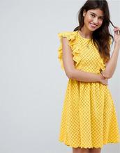 ASOS | Ажурный сарафан с оборками на рукавах ASOS DESIGN - Желтый | Clouty