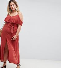 River Island | Платье макси с открытыми плечами River Island Plus - Красный | Clouty