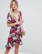 Vila | Платье с запахом и цветочным принтом Vila - Мульти | Clouty