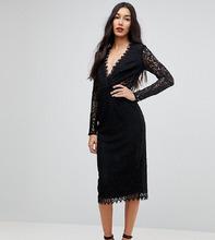 ASOS   Кружевное платье-футляр миди с длинными рукавами ASOS TALL - Черный   Clouty