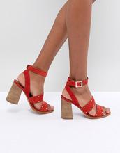 ASOS | Замшевые сандалии с отделкой заклепками ASOS TESSIE - Красный | Clouty