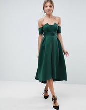 ASOS | Платье миди для выпускного с открытыми плечами и складками на талии AS | Clouty