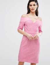 8th Sign   Кружевное платье миди с вырезами на плечах The 8th Sign - Розовый   Clouty