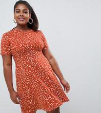 ASOS | Чайное платье мини в горошек ASOS DESIGN Curve - Мульти | Clouty
