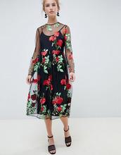 ASOS | Свободное платье миди с вышивкой и длинными рукавами ASOS DESIGN - Мульти | Clouty