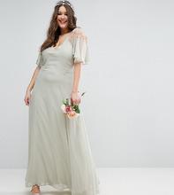 ASOS   Платье макси с кейпом и кружевом ASOS CURVE WEDDING - Зеленый   Clouty