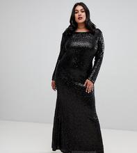 Outrageous Fortune Plus   Черное платье макси с длинными рукавами и пайетками Outrageous Fortune Plus - Черный   Clouty