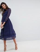 ASOS | Кружевное приталенное платье миди ASOS PREMIUM - Темно-синий | Clouty