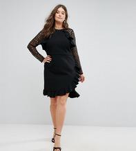 truly you | Платье с кружевными рукавами и запахом Truly You - Черный | Clouty