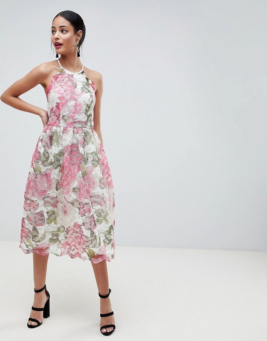 ASOS | Платье миди из кружева с цветочной отделкой ASOS DESIGN - Мульти | Clouty