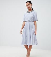 ASOS | Приталенное платье миди с кроп-топом и 3D отделкой ASOS DESIGN Petite - Мульти | Clouty