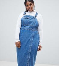ASOS | Синий джинсовый сарафан миди ASOS DESIGN Curve - Синий | Clouty