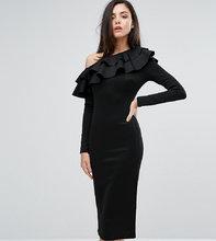 Club L | Платье миди на одно плечо с длинными рукавами и оборками Club L | Clouty