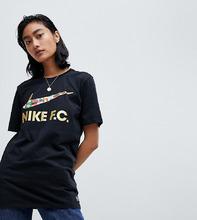 NIKE | Черная футболка с логотипом-галочкой Nike F.C. - Черный | Clouty