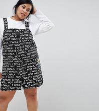 ASOS | Джинсовое платье-сарафан с принтом The Simpsons x ASOS DESIGN Curve - Черный | Clouty