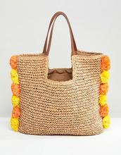 Chateau | Соломенная пляжная сумка с помпонами Chateau - Бежевый | Clouty