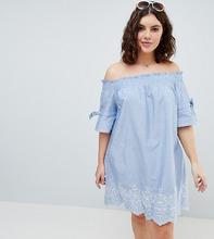 Influence | Платье с открытыми плечами, присборенными рукавами и вышивкой Influence Plus - Синий | Clouty