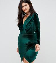 Club L   Бархатное платье с запахом на юбке Club L Plus - Зеленый   Clouty