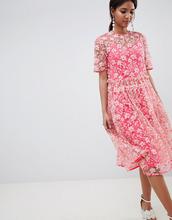 ASOS | Свободное платье миди с заниженной талией и цветочной отделкой ASOS ED | Clouty