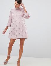 ASOS | Свободное платье мини с отделкой ASOS DESIGN - Розовый | Clouty