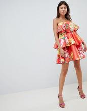 ASOS | Структурированное ярусное платье мини с ярким цветочным принтом ASOS D | Clouty