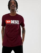 DIESEL | Бордовая футболка с логотипом Diesel T-Just-Division Industry - Красный | Clouty