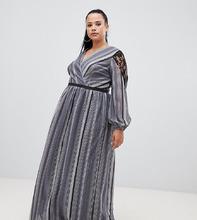 Little Mistress | Платье макси в полоску металлик с запахом и кружевной вставкой Little Mistress Plus - Черный | Clouty