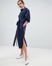 ASOS | Платье миди с поясом ASOS WHITE - Темно-синий | Clouty