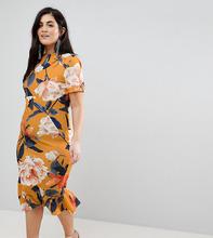 ASOS   Платье-футболка миди с цветочным принтом ASOS CURVE - Мульти   Clouty