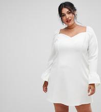 ASOS   Платье мини с рукавами клеш и вырезом сердечком ASOS DESIGN Curve - Кремовый   Clouty