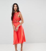 ASOS   Платье миди с плиссировкой и кружевом ASOS TALL - Красный   Clouty