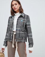 Maison Scotch   Короткая куртка в клетку из ткани с добавлением шерсти Maison Scotch - Серый   Clouty