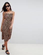 ASOS | Льняной сарафан миди на пуговицах с леопардовым принтом ASOS DESIGN | Clouty
