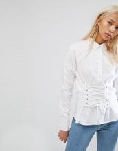 Noisy May | Рубашка со шнуровкой в корсетном стиле Noisy May - Белый | Clouty